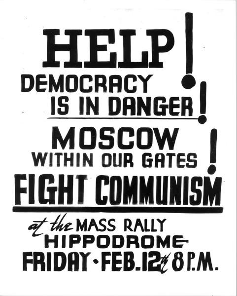 Poster saying 'Help! Democracy is in danger!'
