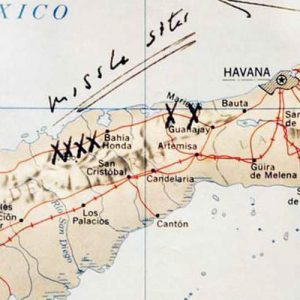 """A map of Cuba annotated by former U.S. President John F. Kennedy, displayed for the first time at the John F. Kennedy Library in Boston, Massachusetts, on July 13, 2005. Former President Kennedy wrote """"Missile Sites"""" on the map and marked them with an X when he was first briefed by the CIA on the Cuban Missile Crisis on October 16, 1962."""