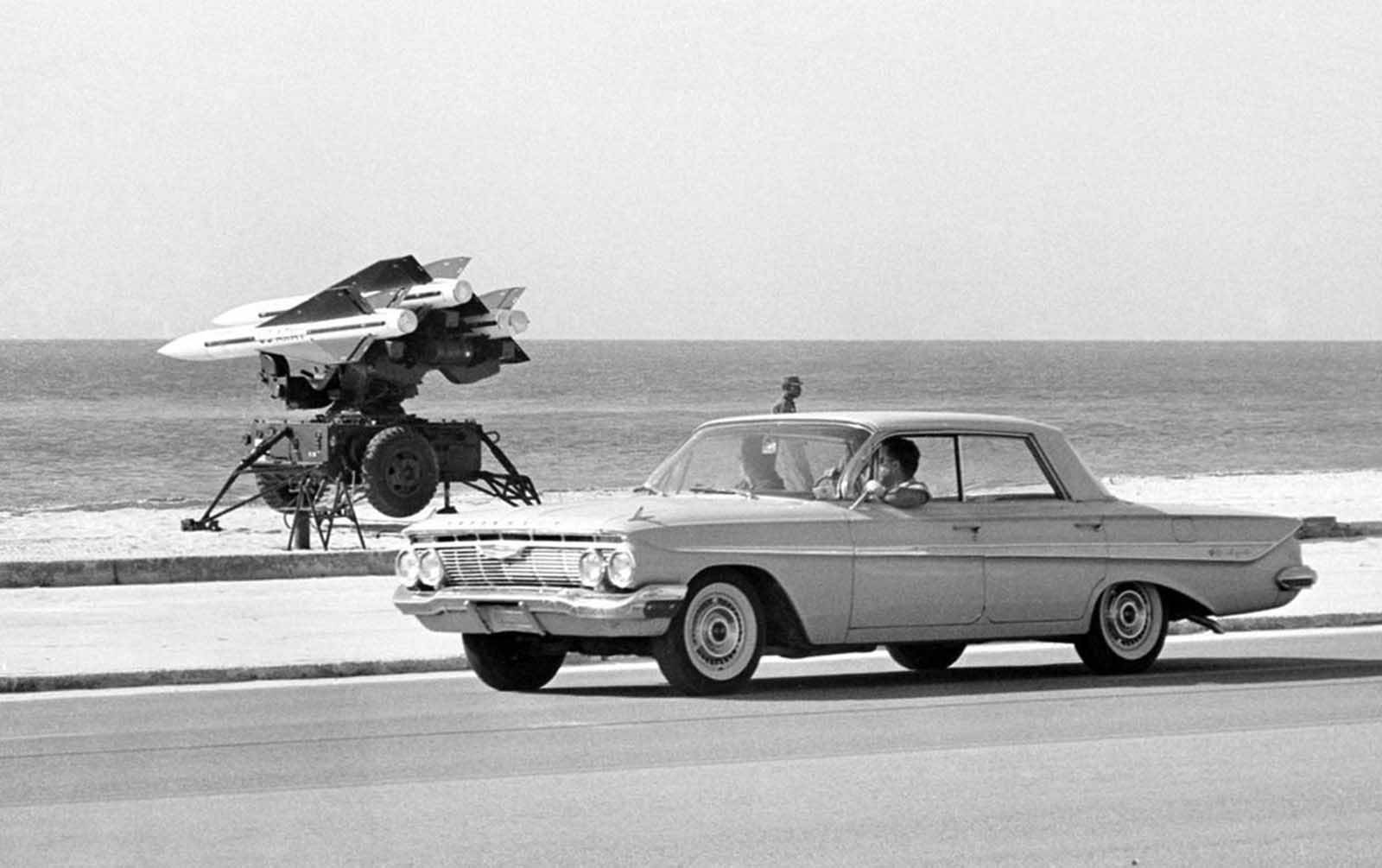 U.S. Army anti-aircraft rockets, mounted on launchers and pointed out over the Florida Straits in Key West, Florida, on October 27, 1962.