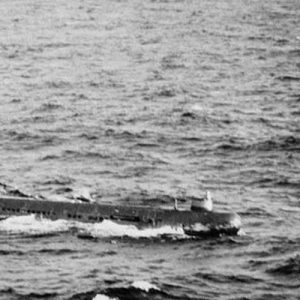 A Soviet submarine near the Cuban coast controlling the operations of withdrawal of the Russian Missiles from Cuba in accordance with the US-Soviet agreement, on November 10, 1962. American planes and helicopters flew at a low level to keep close check on the dismantling and loading operations, while US warships watched over Soviet freighters carrying missiles back to Soviet Union.