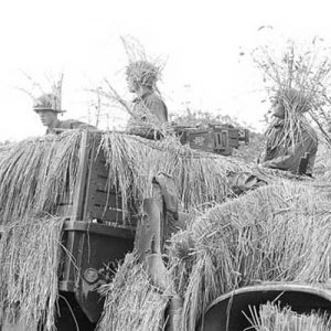 A command post somewhere in South Korea on July 12, 1950, as American soldiers keep on the alert with their straw covered camouflaged weapons carrier.