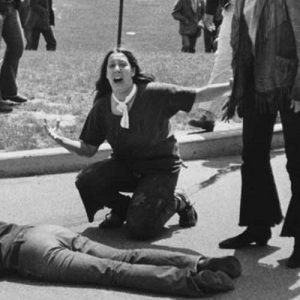 Fourteen-year-old Mary Ann Vecchio screams over the body of 20-year-old Kent State student Jeffrey Miller after he was shot by the Ohio National Guard during a protest against the U.S. invasion of Cambodia during the Vietnam War on May 4, 1970.